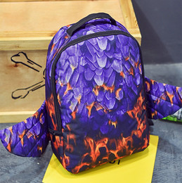 Wholesale Fire bird spray ground backpack Feather wing design bag Nylon daypack Cool style street rucksack Sprayground design daypack