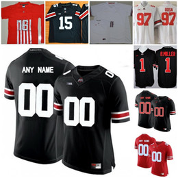 Mens Ohio State Buckeyes College Football Custom #1 12 15 16 25 White Black Red Limited Stitched Personalized Any Name Number Jerseys S-3XL