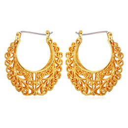 Vintage Earrings Women Gift Fashion Jewelry Free Shipping 18K Real Gold Plated Basketball Wives Jewelry Fancy Hoop Earrings E6771