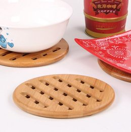 Wholesale ECO friendly Bamboo Place Mat Kitchen mat Coaster Bar Mats Anti scalding Circular grid