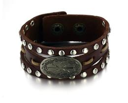 Jewelry Leather Bracelet New Arrivel Punk Rock Style Rock ROll Jewelry rivet Metrosexual personality cowhide Men's Bracelet free shipping