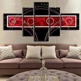 5 Pcs Set Modern Abstract Wall Painting Combined Circles Red Black AB Canvas Wall Art Picture Unframed Canvas Painting