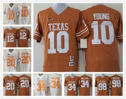 Wholesale Texas Longhorns Jersey Footbball Ncaa College Vince YOUNG Colt McCoy Connor Williams Earl Campbell Brian Orakpo White Yellow Orange