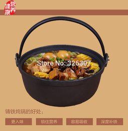 Wholesale Cast iron saucepan old upset pure manual raw iron pan uncoated titanium pot simmering saucepan Japan cm