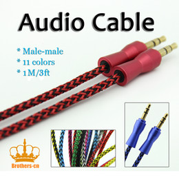 Wholesale 1M braided Audio Cable Aux adapter mm stero male to male jack line for cellphone computer speaker universal