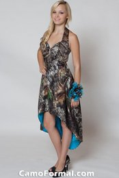 High Low Camo Bridesmaid Dresses Halter Crystal Prom Evening Gowns Realtree Forest Camouflage Cocktail Homecoming Dress Custom Made