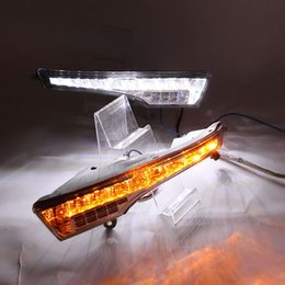 Wholesale 2pcs Car LED DRL daytime running light for Nissan Altima DRL lamp with turning yellow signal emark waterproof pair