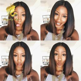 brazilian hair full lace wig Human hair straight two tone ombre 1B 4# Front lace wig for black women