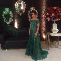 2016 Dark Green Lace Evening Dresses Illusion Bodice Long Prom Gowns Off Shoulder Arabic Plus Size Party Dresses Maternity Dresses
