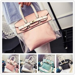 Wholesale High grade Spring new fashion women jelly platinum package embossed picture car suture stitching transparent handbag VMB40