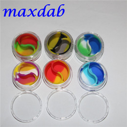 wholesale 10ml acrylic wax containers silicone jar dab wax containers , silicone dab jar glass oil containers free shipping