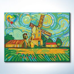 Wholesale Colorful Windmill DIY Painting Baby Toys x40cm Educational Canvas Oil Painting Kids Drawing Toys Set for Colleague Gift with Green Acrylic