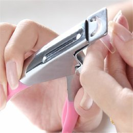 Wholesale 100pcs Way Acrylic False Nail Tip Clipper Cutter Edge Cutter Tips Pink Nail Clippers Trimmers