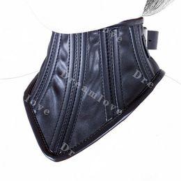 2016 new Female PU Soft Leather Bondage Slave Corset Collar Womens Fetish Lockable Submission Neck Corset
