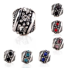 Wholesale Antique Silver Round Ball Zircon European Charms Bead Fit Pandora Snake Chain Bracelets Bangles DIY Jewelry