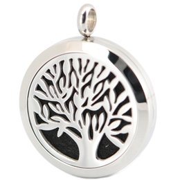 Wholesale 1pcs mm magnet family tree Aromatherapy Essential Oil surgical Stainless Steel Perfume Diffuser Locket Necklace with chain and felt pads