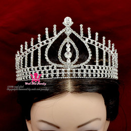 Wholesale Rhinestone Crowns Tiaras Hong Kong Miss Beauty Pageant Queen Bridal Wedding Princess Party Prom Night Clup Show Crystal Headband Hairpin