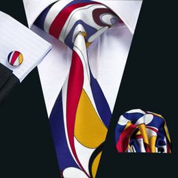 Fashion Mens Silk Ties Red Yellow Blue White Mix Color Stripes Printed Business Wedding Tie Set Include Tie Cufflinks Hankerchief N-1230