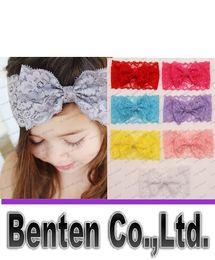 Promotion accessoires de cheveux pour les bébés filles Accessoires Bébé Cheveux Toddler Cute Girl Enfants Bow Hairband Turban Bandeau Headwear dentelle Hairband rose blanc LLFA160 rouge pourpre
