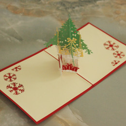 DHL Free Shipping 10pcs 2016 Hot 3D POP UP Handmade Christmas  Gift  Greeting Card with Christmas Tree & Snow Man Decoration