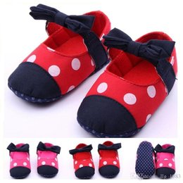 Wholesale Hot Big Polka Dot Printing Textil Bow Elastic Strap Baby Shoes First walker Toddler Baby Girl Shoes Two Colors