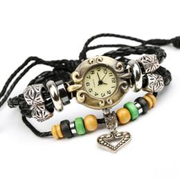 2017 cuero reloj pulsera corazón Pulseras de cuero de la vendimia pk6-4 reloj europeo moldeada hecha a mano del corazón colgante para unisex caliente de la venta de gama alta envío libre barato económico cuero reloj pulsera corazón