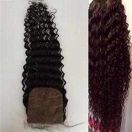 2016 7a encierro del pelo de la onda profunda Encierro profundo de la onda, encierro bajo de la base de 4inchX4inch, 7a cabello humano superior del grado, pelo brasileño, pelo ...
