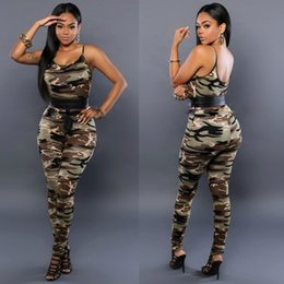 Wholesale 2016 New Summer Style Fashion Sexy Camouflage Jumpsuits Sleeveless Sling Rompers Womens Jumpsuit Skinny Overalls For Women