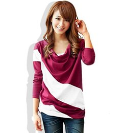 Wholesale summer and autumn women's long-sleeved stitching loose collar stitching color matching designer T-shirt female Slim sports blouse