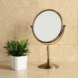 Wholesale 8 quot Spinning degree desktop Antique x3 Magnifying double faced makeup mirror mirror table desktop mirror F