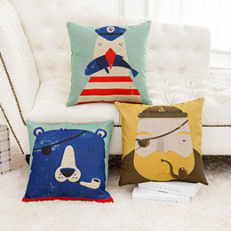 45cm Kids Room pirate Cat Cartoon Cotton Linen Fabric Waist Pillow 18inch Fashion New Home Gift Coffeehouse Decoration Sofa Car Cushion