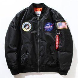 Wholesale Men Bomber Flight Pilot Jacket Coat Thin Nasa Navy Flying Jacket Military Air Force Embroidery Baseball Uniform Army Green Black Blue