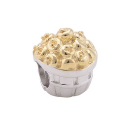 Wholesale GW Solid Sterling Silver Golden Reflections Kids Apple Basket Bead fits Bracelets for Women Gold Plated Jewelry Gift No50 lw E014
