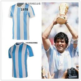 Wholesale _ argentina retro soccer jerseys home top thai AAA customzied name number Maradona soccer uniforms
