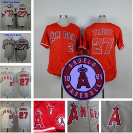 Wholesale Mike Trout Jersey Flexbase Baseball Los Angeles Angels of Anaheim White Pullover Red Grey