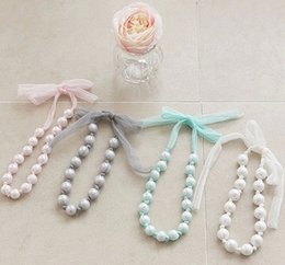 Hot sell girls pearl lace Hang rope necklace Children princess Necklace Child Jewelry Children's Accessories kids Gifts 4 colors A8404