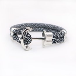 Wholesale 2016 New Fashion Anchor Bracelets Stingray Leather Bracelet for Women Man Rope Best Friends Gift
