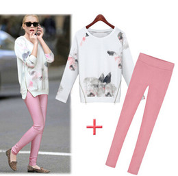 Spring &autumn ladies two-piece Europe fashion new style print long sleeve sweatshirt length pants twinset Women's casual sets