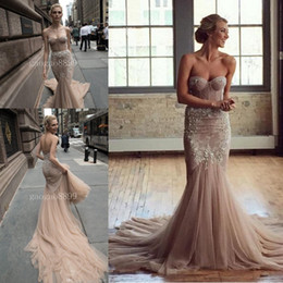 Inbal Dror 2019 Spring beach Chocolate champagne Lace Tulle Mermaid Wedding Dresses beaded detail Sweetheart Backless Trumpet Wedding Gown