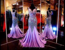 Shiny Prom Dresses Long 2016 Sexy Mermaid Scoop Backless prom Dress Beading Crystals Sweep Train Light Purple Formal Evening Gowns