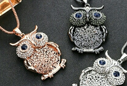 Europe and the United States trend jewelry, owl crystal sweater long section, new fashion wild accessories necklace.