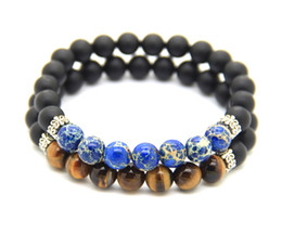 New Men and Women's Bracelet, 8mm High-grade Matte Agate with Classic Blue Sea Sediment Stone and Tiger Eye Stone Beads