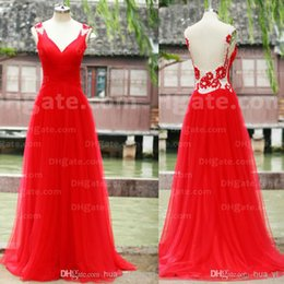 Prom Dresses 2016 Real Image Red Sheer Back Flowers Beading Ruched V-Neck Tulle Floor-Length Evening Dress Dhyz 01
