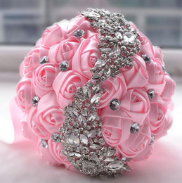 Wholesale 2016 beautiful Gorgeous crystal Wedding Bouquet Rose bouquet wedding accessories Bridesmaid artifical Wedding flowers Bridal Bouquets