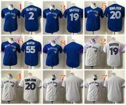 Wholesale Youth Toronto Blue Jays Troy Tulowitzki Jose Bautista Josh Donaldson White Blue MLB Baseball Jerseys Elite Authentic Stitched