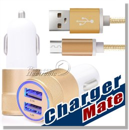 Wholesale Metal Dual USB Port Car Charger Universal Volt Amp with High Speed A Micro USB Cable for Samsung S7 S7edge S6 S5 Note