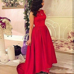 2016 Sexy Simply Saudi Arabia Prom Dresses Myriam Fares Vintage Red Jewel Neck High Low Sweep Train Formal Party Celebrity Evening Gowns