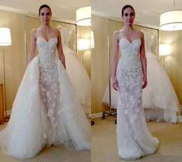 Fashion Zuhair Murad Overskirt Wedding Dresses Mermaid Sweetheart Neckline With Detachable Train Lace Trumpet Bridal Gowns