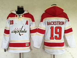 Wholesale Nicklas Backstrom Washington Capitals Hoodie White Mens Hockey Sweater Pull Over Hockey Wear High Quality Stitched Name and Number