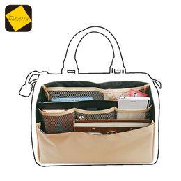 Feid2014 Sac d'insertion pour organisateur dans le sac Double emballage pliable brun Sacs de rangement Multi-poches; à partir de beige boston sacs fournisseurs